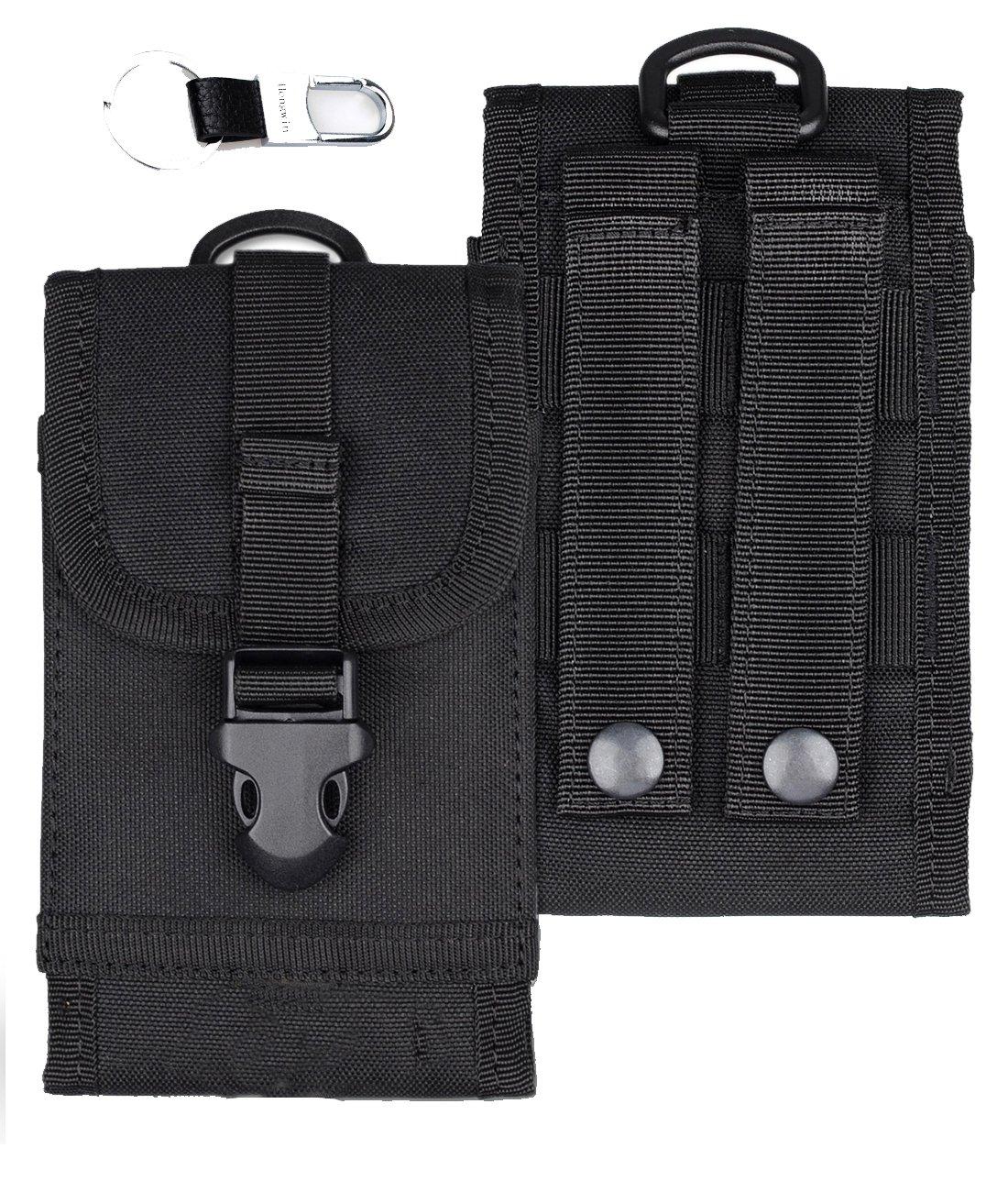 Hengwin Belt Clip Pouch, MOLLE Tactical Smartphone Holster Nylon Waist Bag Carrying Case Compatible iPhone 8 Plus 7 Plus 6 Plus Money Pocket Purse Samsung S8 Plus S7 Edge Plus LG G6/G5+Keychain-Black