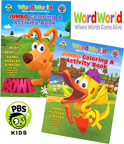 Amazon.com: WordWorld Jumbo Coloring and Activity Book Set (2 ...