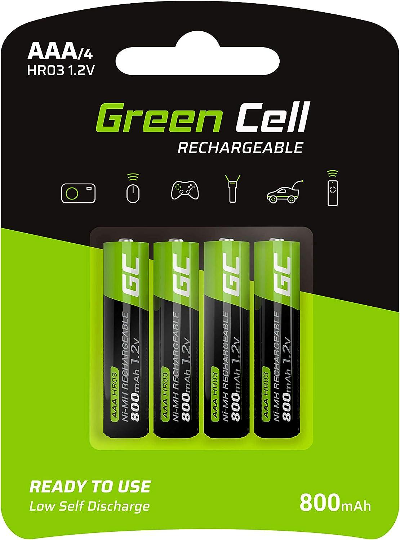 Green Cell 4X AAA 800mAh 1.2V Juego de 4 Pilas Recargables AAA Ni-MH Baja Autodescarga Precarga Alta Capacidad HR6 BK-4MCCE/8LE