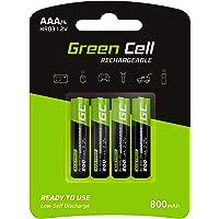 Green Cell 4X AAA 800mAh 1.2V Juego de 4 Pilas Recargables AAA Ni-MH Baja Autodescarga Precarga Alta Capacidad HR6 BK…