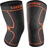 Cambivo Knee Brace Support(2 Pack), Knee Compression Sleeve for Running, Hiking, Basketball, Soccer, Tennis, Relieving…