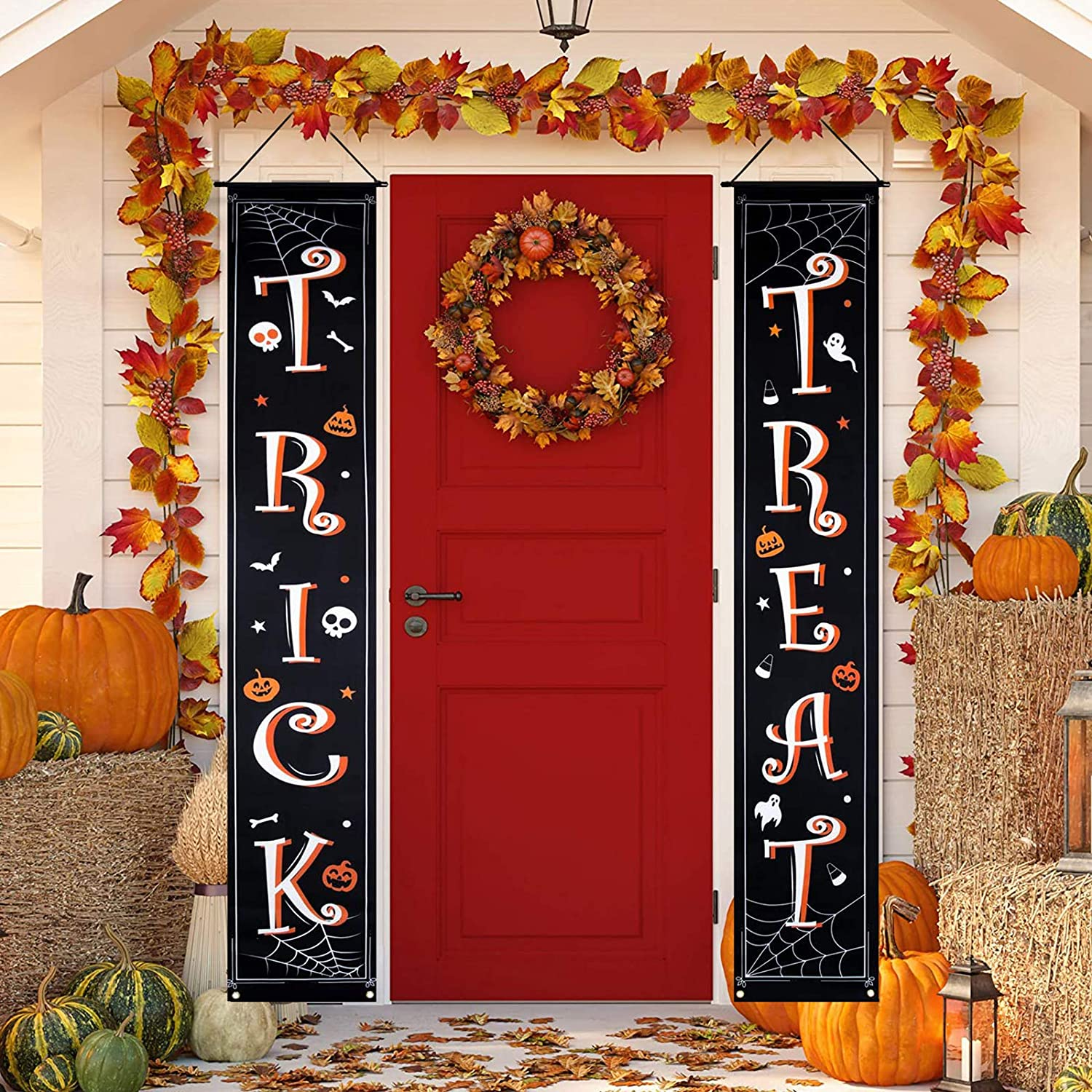 GoosWexmzl Halloween Decorations Outdoor, Trick or Treat Set Includes Trick or Treat Banner for Front Door Display for Garden, Halloween Porch Sign Set (Style 2)