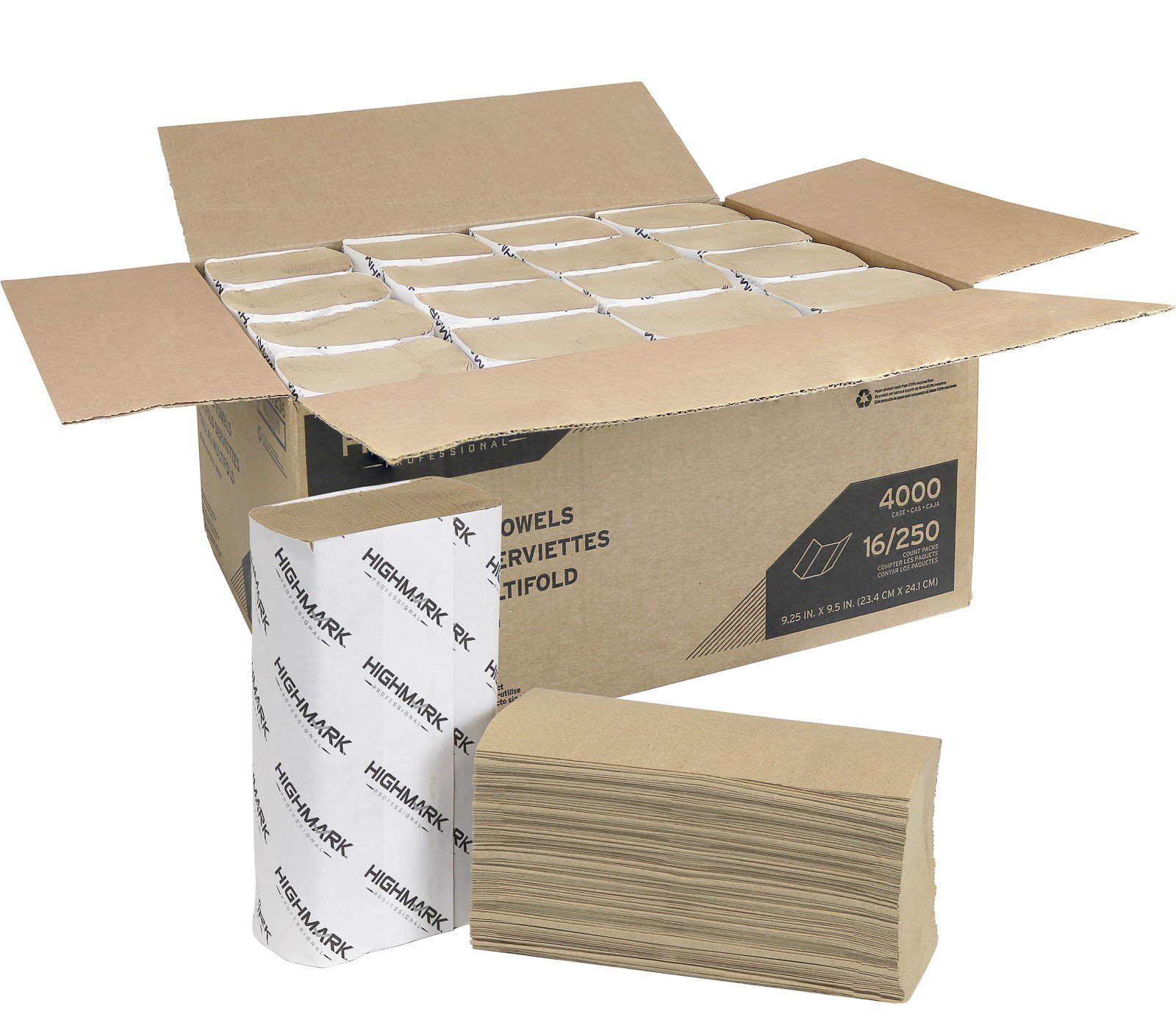 Highmark Professional Multifold Paper Towels, Brown, 4000 Towels, 250 Towels Per Sleeve Case Of 16 Packets