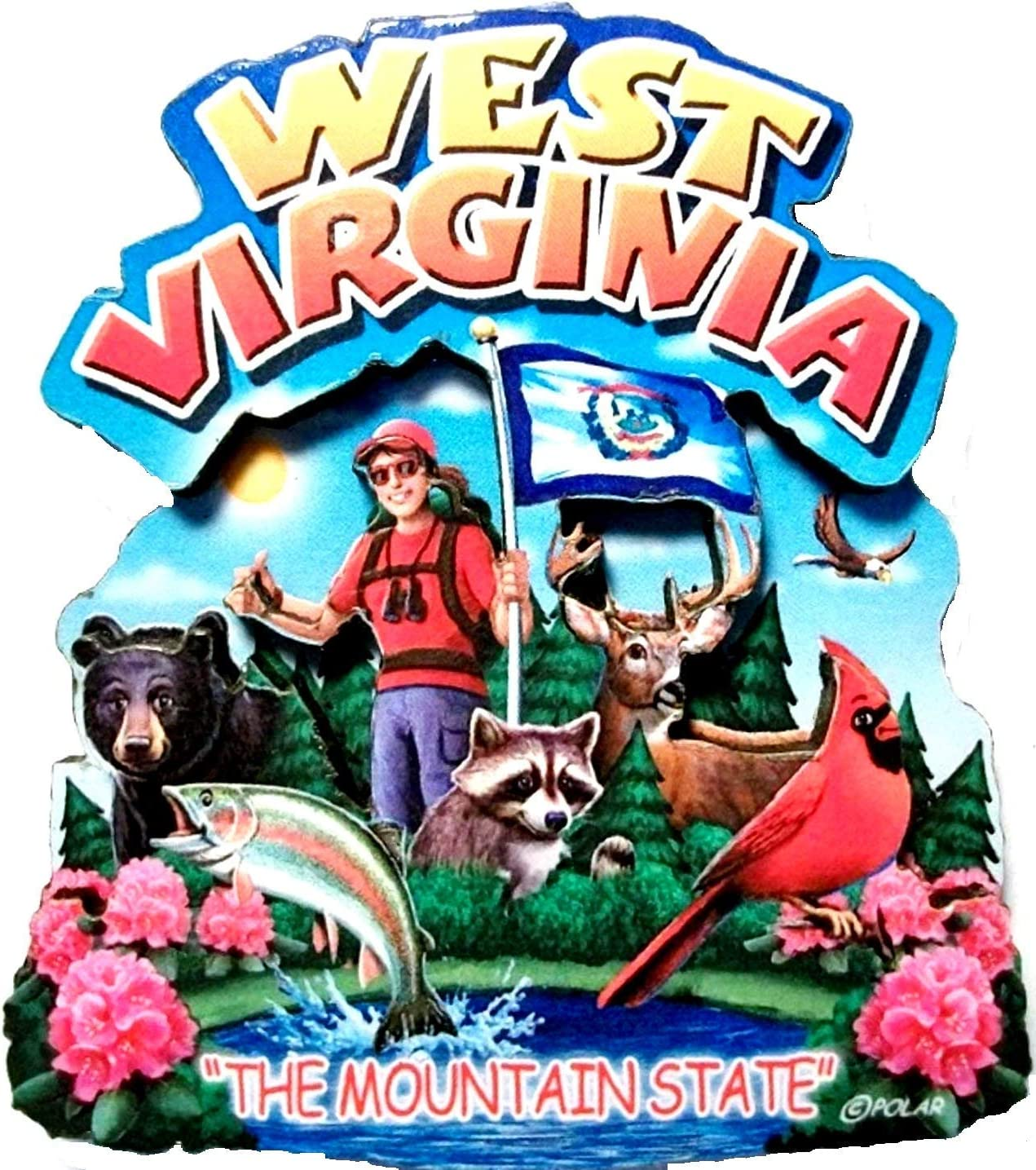 West Virginia State Montage Wood Fridge Magnet 2