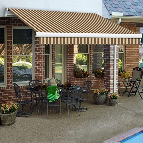 12 ft. Maui Manual Retractable Awning 120 in. Projection Brown Tan