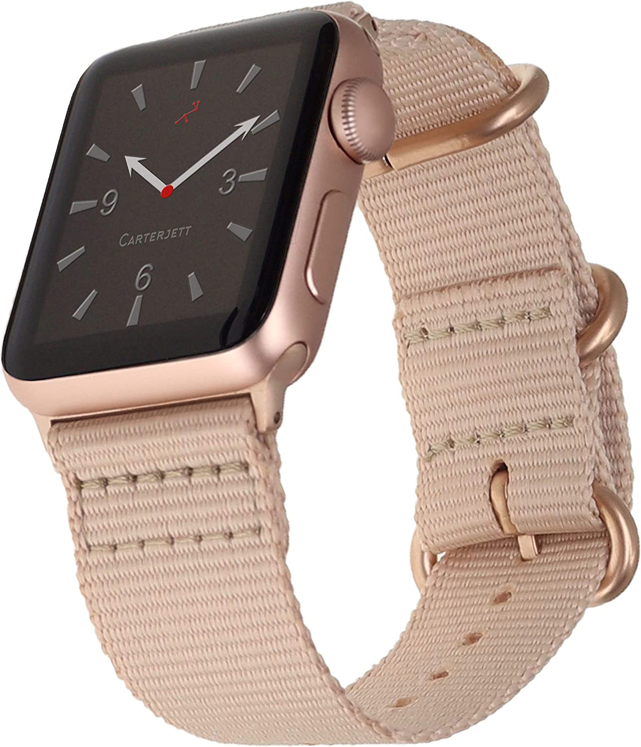 Carterjett Compatible with Apple Watch Band 38mm 40mm Blushed Cream Nylon Replacement Strap Breathable Woven Rose Gold Adapters NATO Buckle iWatch Series 4 3 2 1 (38 40 S/M/L Blushed Cream)