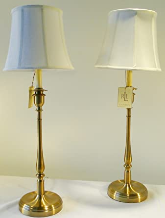 Pair Of Two Ralph Lauren Home Darien Candlestick Antiqued Brass / Gold  Table Lamps With White