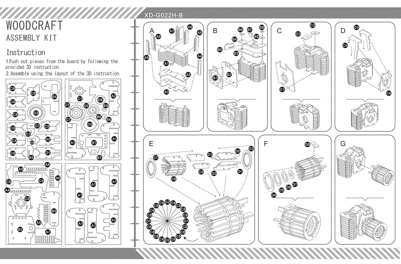 F1 Camera 3D Wooden Puzzles Laser Engraving DIY Safe Safe Safe