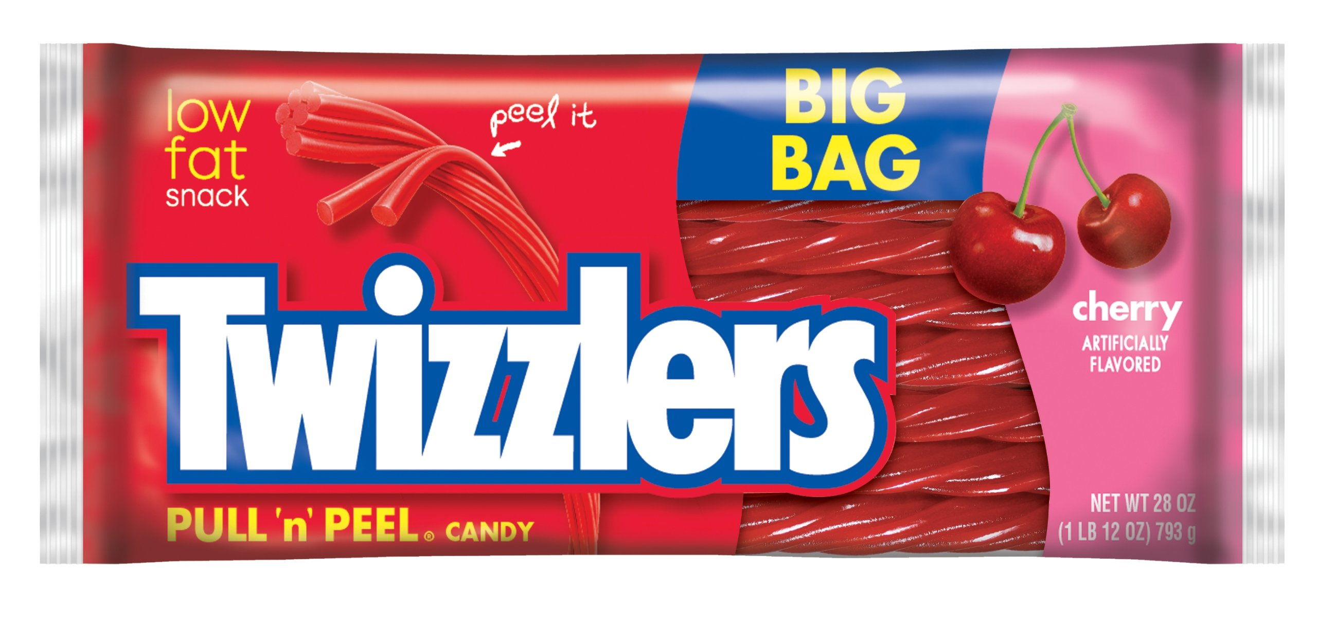 TWIZZLERS Pull 'n' Peel Licorice Candy, Cherry, 28 Ounce Big Bag (Pack of 4)