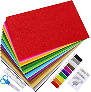 "Supla Felt Sheets 12"" x 8"" Set 30 Colors Felt Sheets Stiff Felt Fabric Hard Felt Squares Craft Felt 2mm Thickness for Kids School DIY Crafts Patchwork Embroidery Sewing Crafting Project"