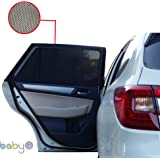 BEST CAR WINDOW SUN SHADES Cover for Rear Side, UV Protection for Baby, Children, Kids and Dog. Best Quality - 1 Set/2 pieces (BLACK)-by Baby 1st