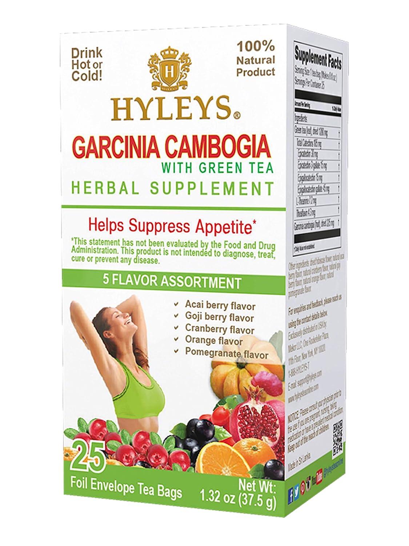 12 Pack of Hyleys Wellness Garcinia Cambogia Green Tea 5 Flavor Assortment - 25 bags (100% Natural, Sugar Free, Gluten Free and Non GMO)