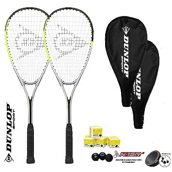 DUNLOP Hyper Squash - Juego de 2 Raquetas para Squash (Incluye 3 ...