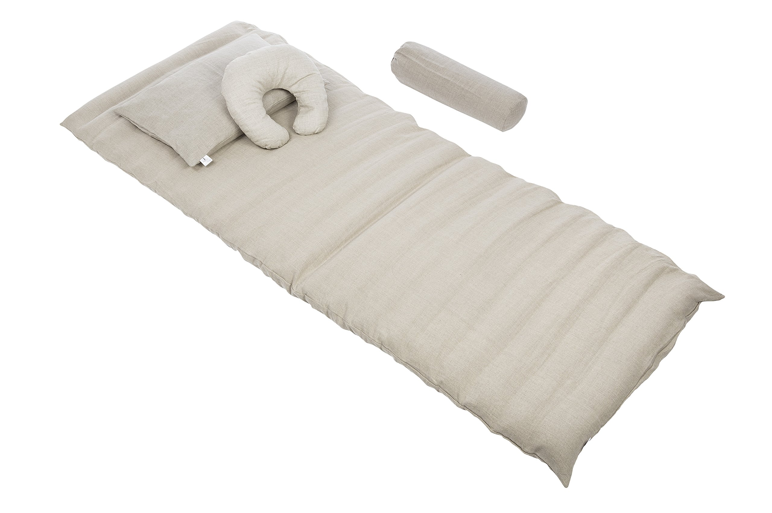 Set: Mat 31.5''x79'' + Pillows/cushions with Buckwheat Filling and Flax Linen Covers