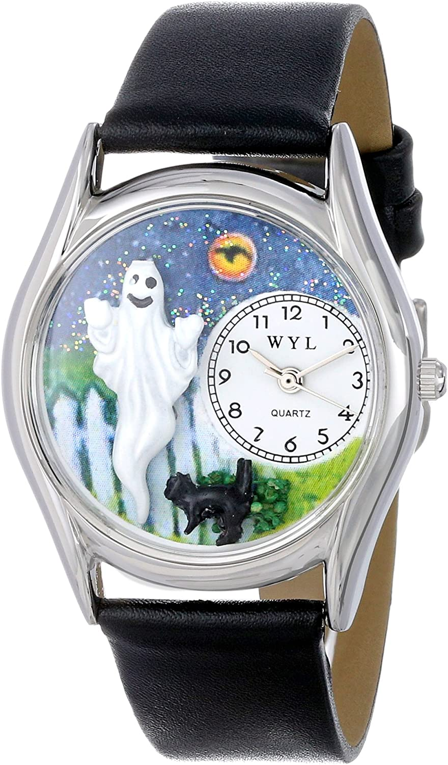 Whimsical Watches Women s S1220010 Halloween Ghost Black Leather Watch