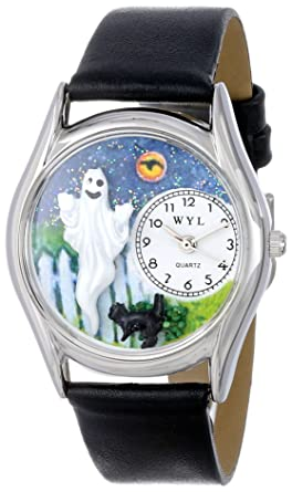 whimsical watches womens s1220010 halloween ghost black leather watch