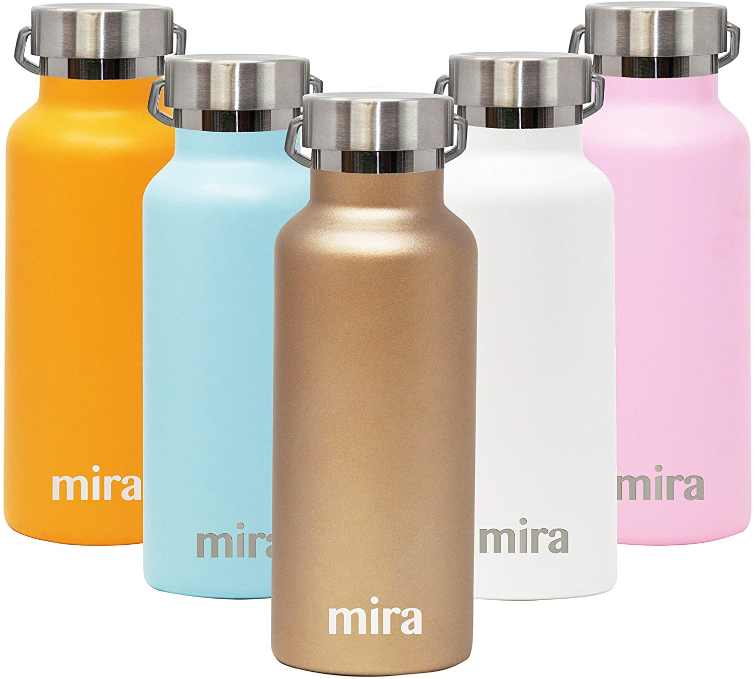 MIRA Alpine Water Bottle with 2 Lids, Vacuum Insulated 18/8 Stainless Steel, Durable Shiny Finish   17 oz (500 ml)   Champagne