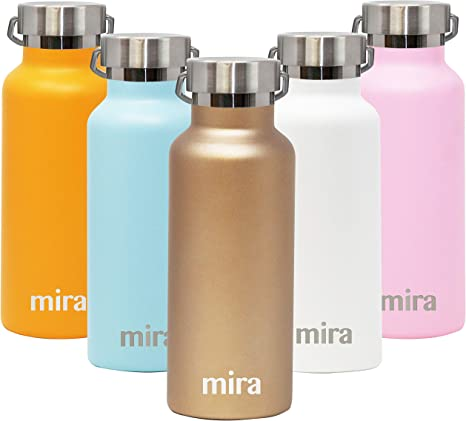 Mira Alpine Water Bottle With 2 Lids Vacuum Insulated 18 8 Stainless Steel Flask Durable Shiny Finish Hydro Bottle 17 Oz 500 Ml Champagne Kitchen Dining