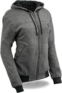 Milwaukee Leather MPL2713SET Women's 'Heated' Grey Hoodie with Included Battery Pack - X-Small