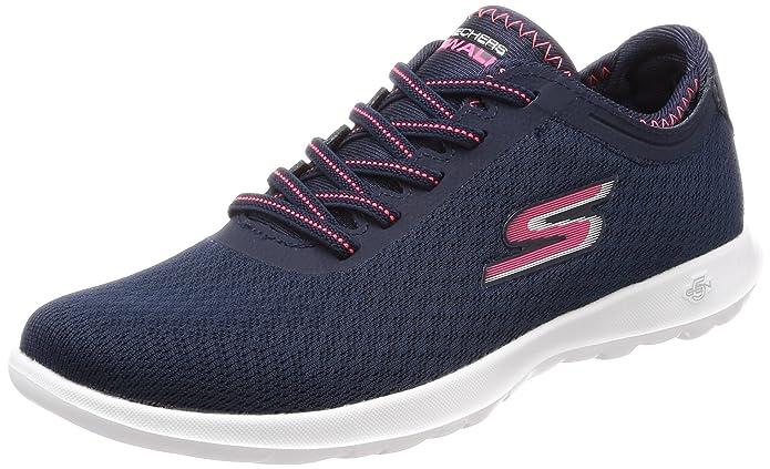 Skechers Vont Marcher Lite Impulsion, Chaussures Femmes, Bleu (bleu Marine / Rose), 37,5 Eu