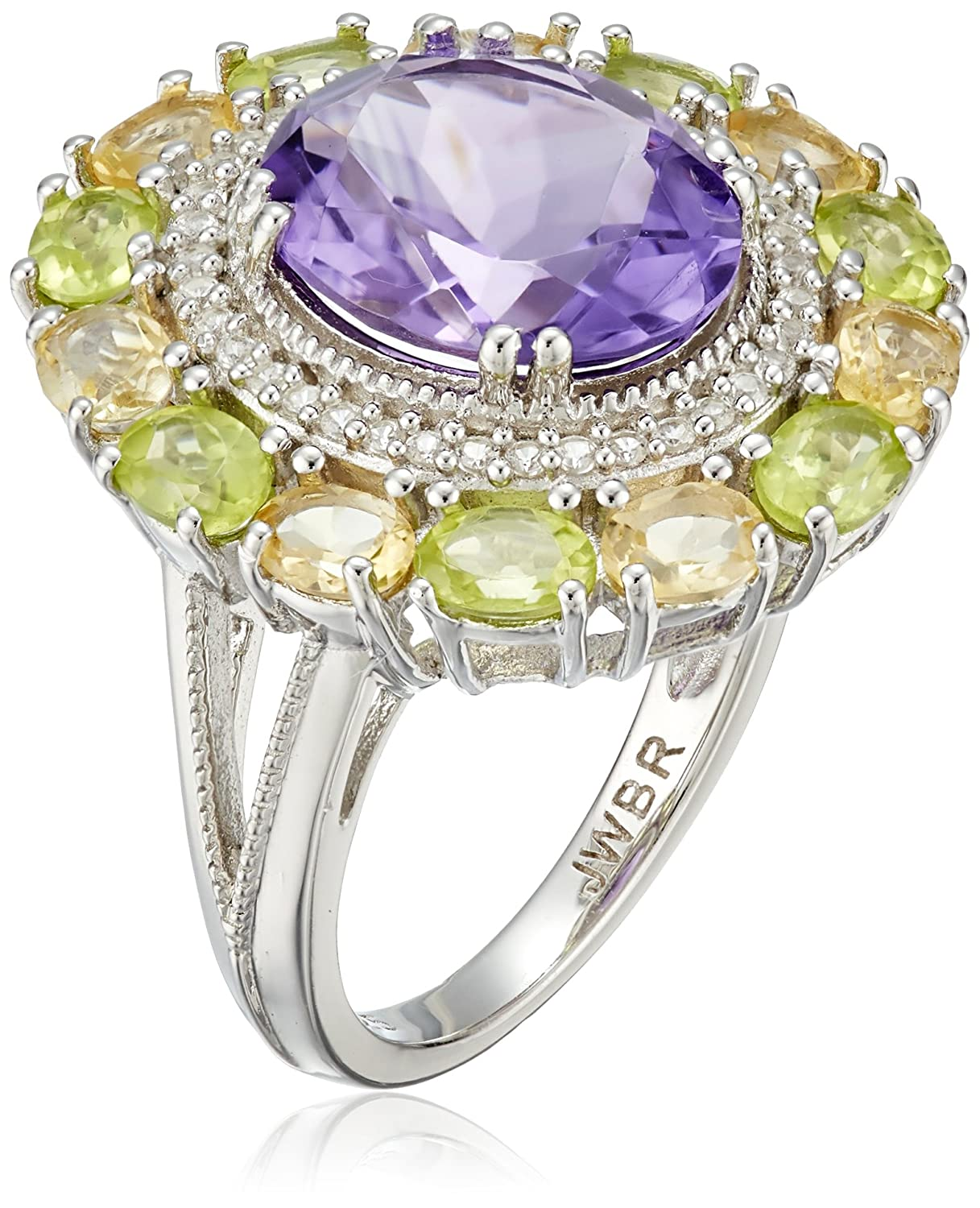 Sterling Silver Oval Shape Amethyst, Citrine and Peridot with Round Created White Sapphire Cocktail Ring
