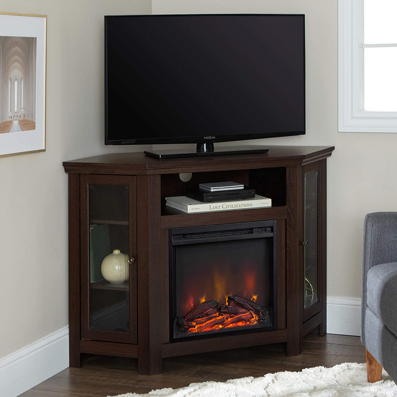 WE Furniture 48 Corner TV Stand Fireplace Console, Espresso