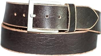 Eg-Fashion Herren Jeans Gürtel 5 cm breiter Büffelleder Gürtel zeitlos stylische Schnalle im Used Look- Individuell kürzbar durch Schraubhalterung