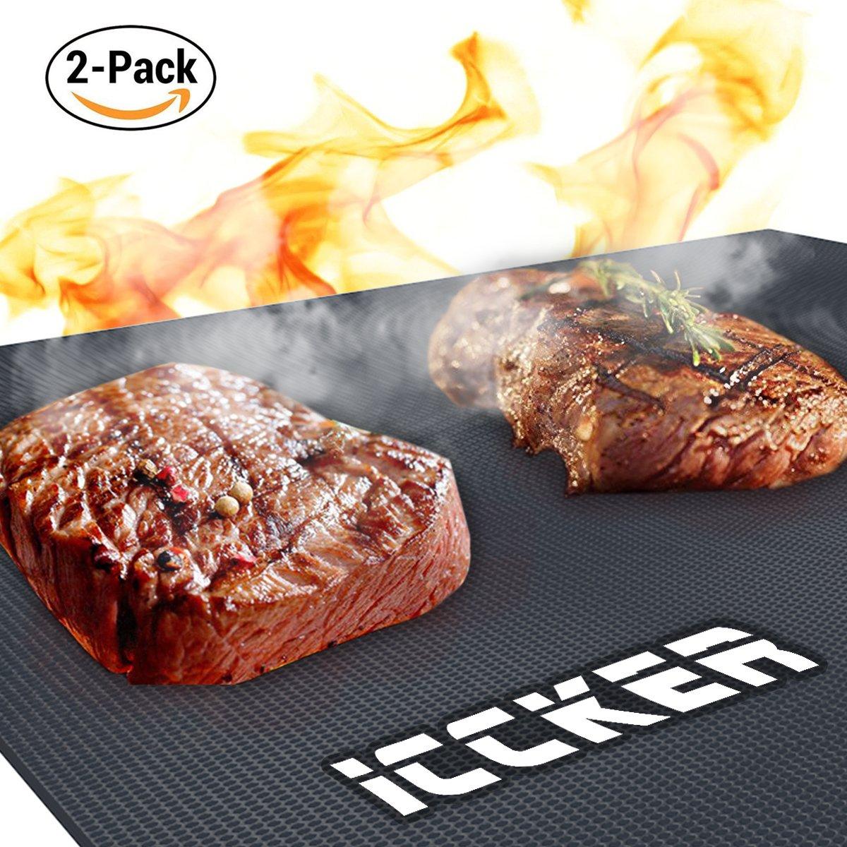 ICCKER Tappetini da Barbecue, stuoie per griglia BBQ - Antiaderenti - Non contengono PFOA - Riutilizzabile, Durevole, Fogli Resistenti al Calore per Grigliare Carne, Verdure, Frutti di Mare (2PC) PGGRGM00001012