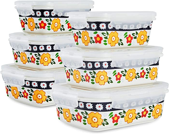 Sazaki Ceramic Food Storage Containers with Lids, Stackable Sealed Leak Proof Lunch Container, Microwave & Dishwasher Safe, Big/Medium/Small, Set of 6