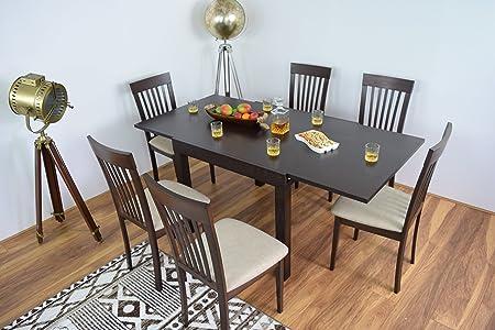 Mesa de comedor extensible y 6 sillas de madera maciza, muebles ...
