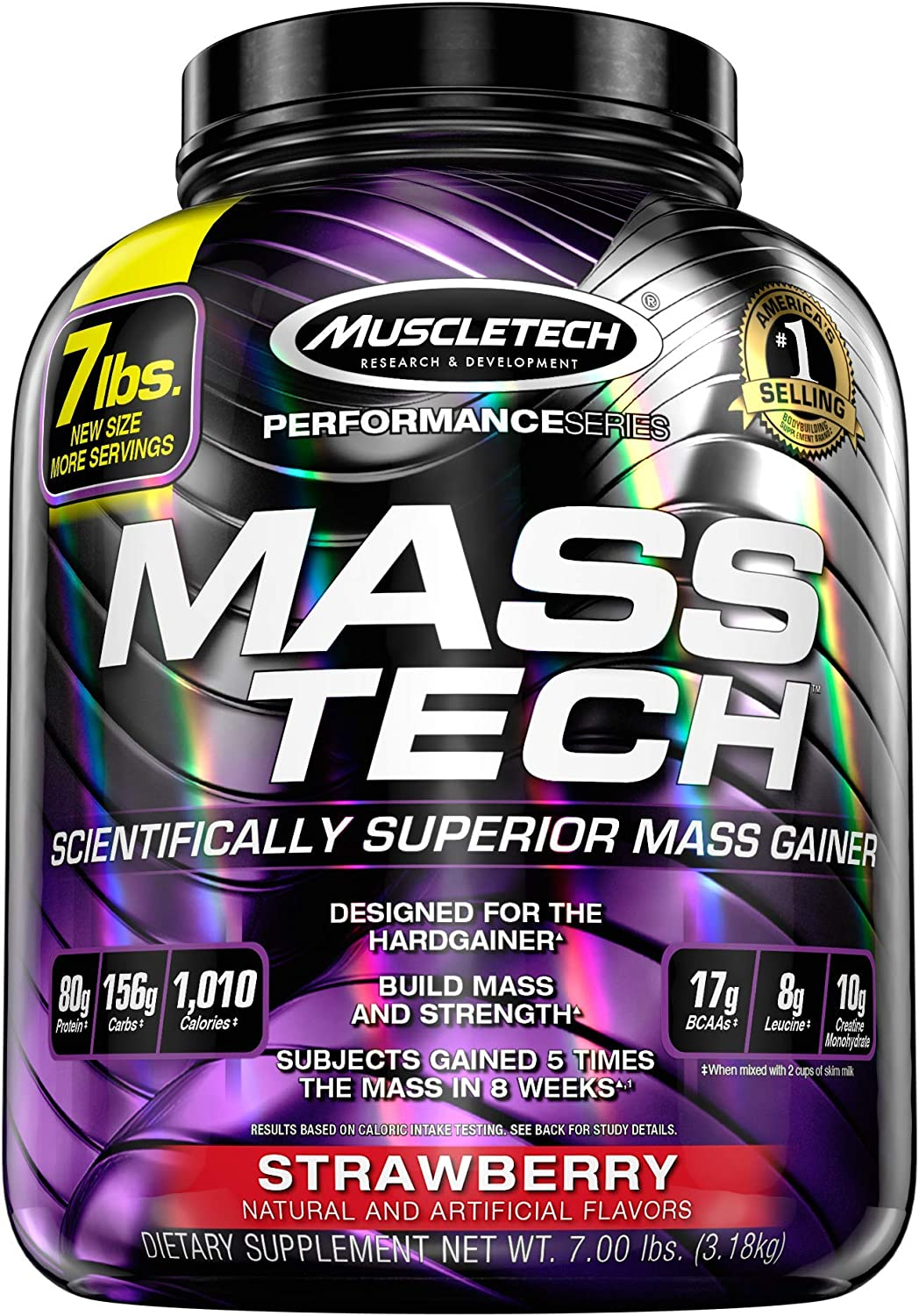 Mass Gainer Whey Protein Powder + Creatine | MuscleTech Mass-Tech Elite | Muscle Builder Whey Protein Powder | Max-Protein Weight Gainer for Men & Women | Chocolate, 7 lbs (packaging may vary): Health & Personal Care