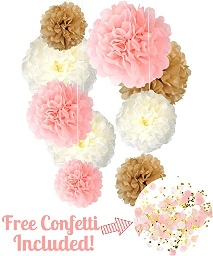 Fine Amazon Com Tissue Paper Pom Poms Neutral Pink Gold Home Interior And Landscaping Ologienasavecom