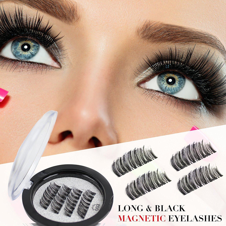 ba24c0a40d2 Amazon.com : Magnetic Eyelashes Dual Magnet Glue-free 3D Reusable Full Size  Premium Quality Natural Look Best False Lashes(4 Pieces) : Beauty