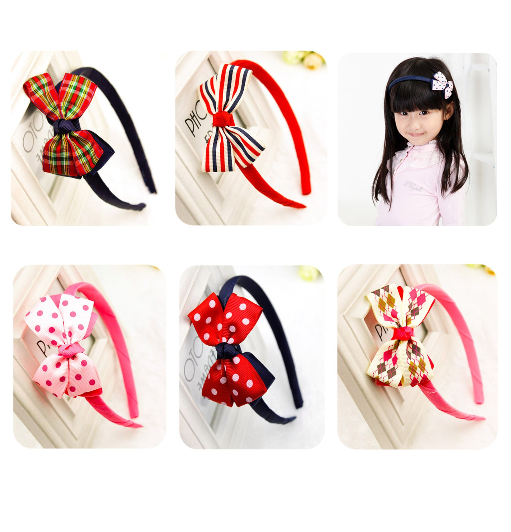 Calliar Cute Kids Fashion Girl\'s Headbands Hair Accessories With Multi Color(10Pack,Lovely Bow )