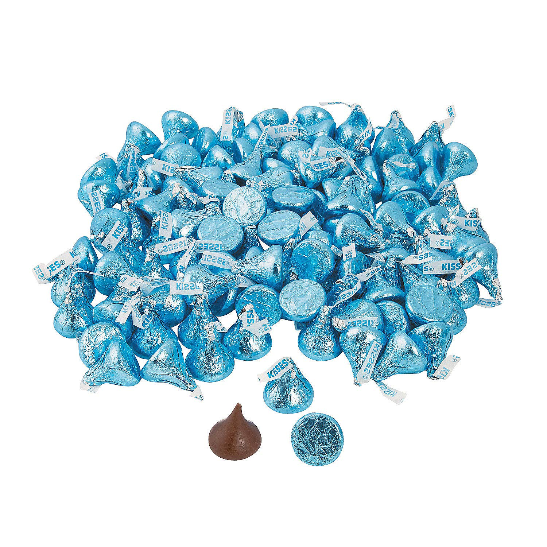 Light Blue Bulk Hershey Kisses (4 lb) Bulk Candy Chocolate by Fun Express
