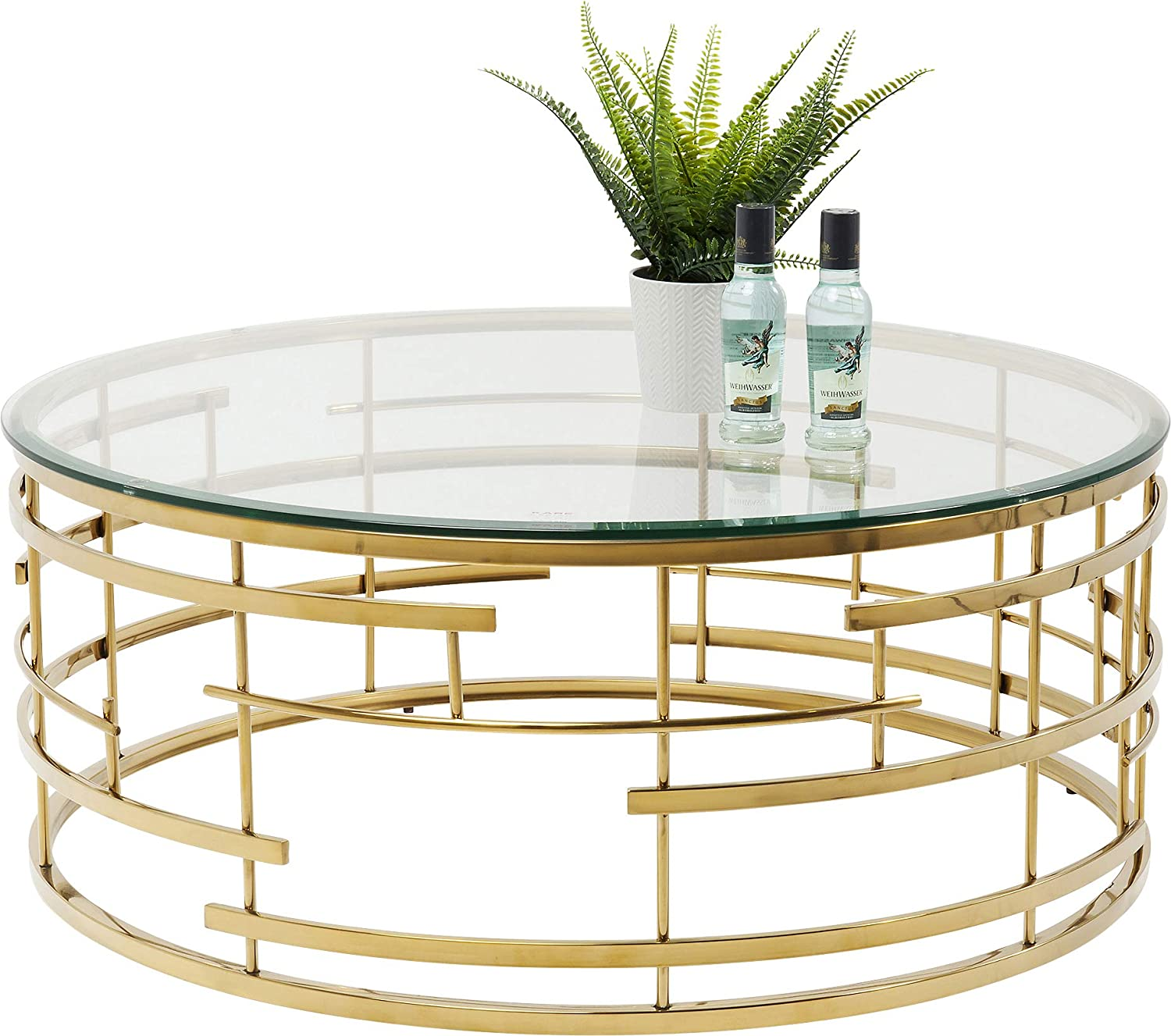Kare Jupiter Design Coffee Table Round Modern Living Room Table With Glass Top Large Sofa Table Gold H W D 40 X 100 X 100 Cm Amazon De Kuche Haushalt