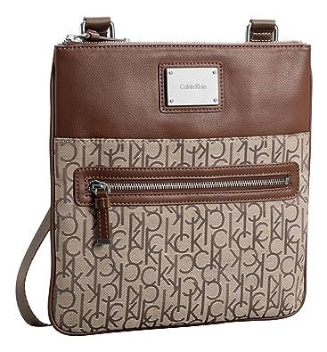 04e0bd276e Amazon.com: Calvin Klein Logo Jacquard Crossbody Flat Pack Handbag Bag  (Natural): Shoes