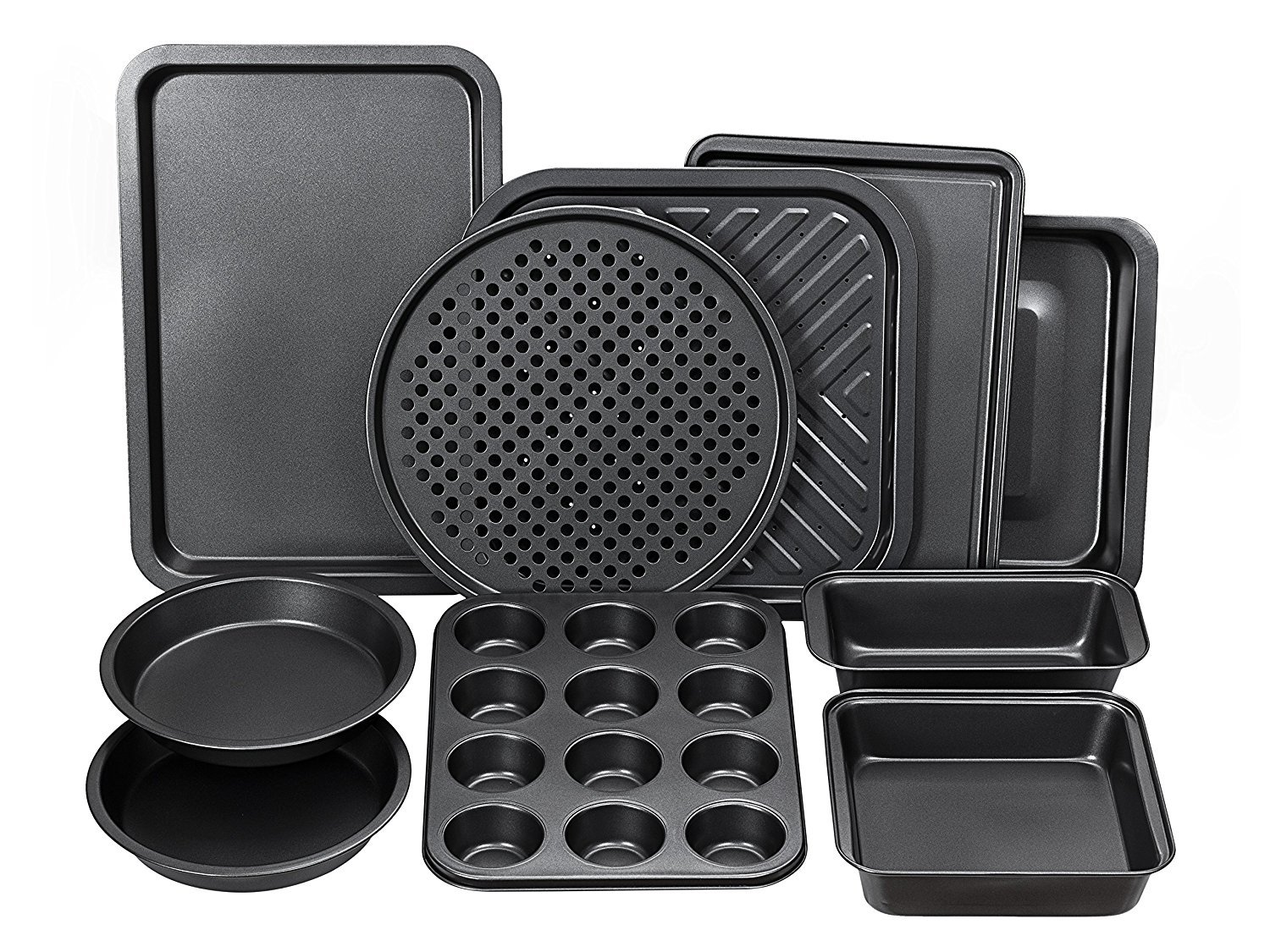 Perlli Complete Bakeware Set 10-Piece Non-Stick, Oven Crisper, Pizza Tray, Roasting, Loaf, Muffin, Square, 2 Round Cake Baking Pans, Large and Medium Nonstick Cookie Sheet Bake Ware for Home Kitchen by Perlli (Image #4)