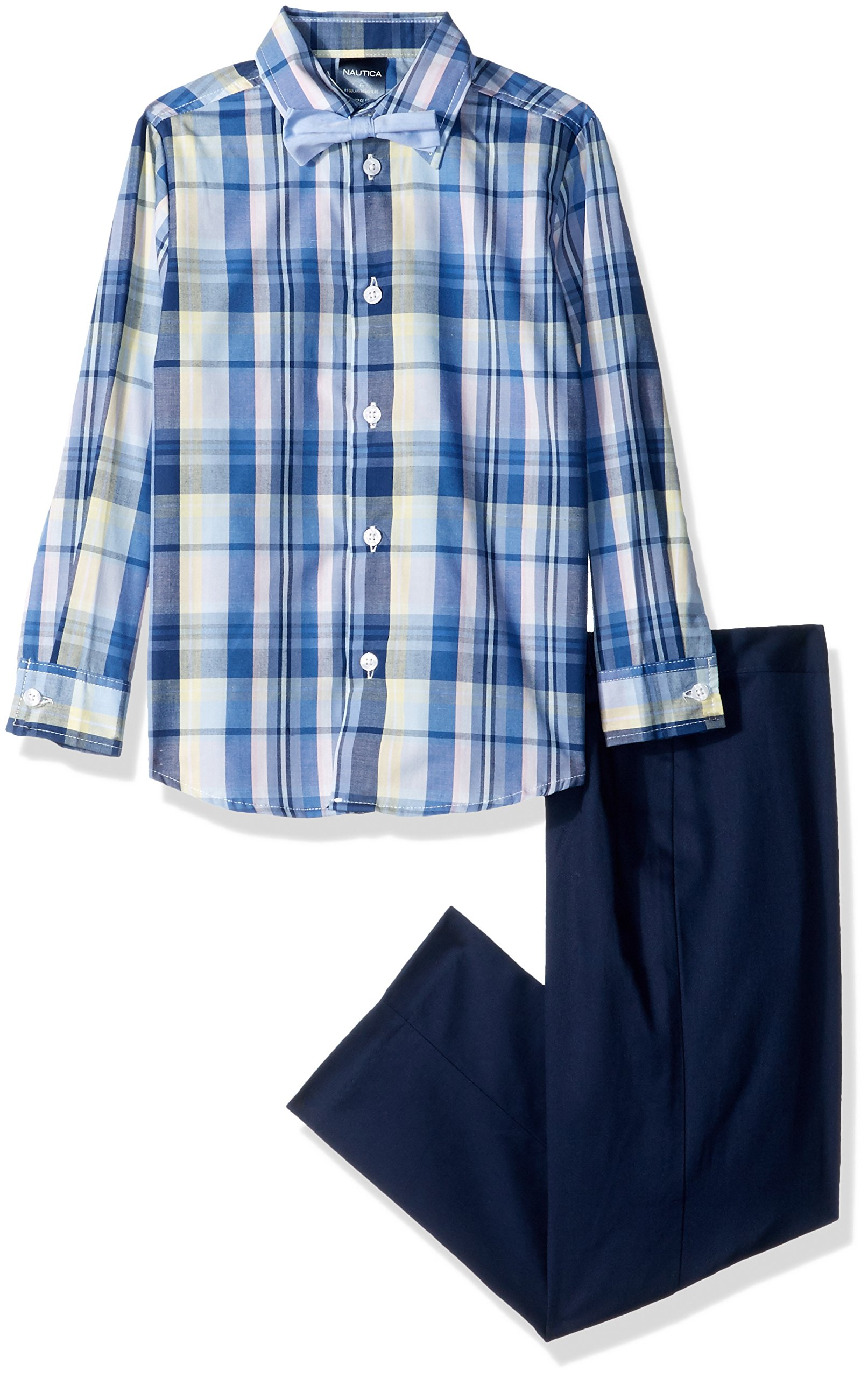 Nautica Little Boys' Three Piece Dresswear Set With Shirt, Pant and Bowtie, Madras Navy Blazer, 4