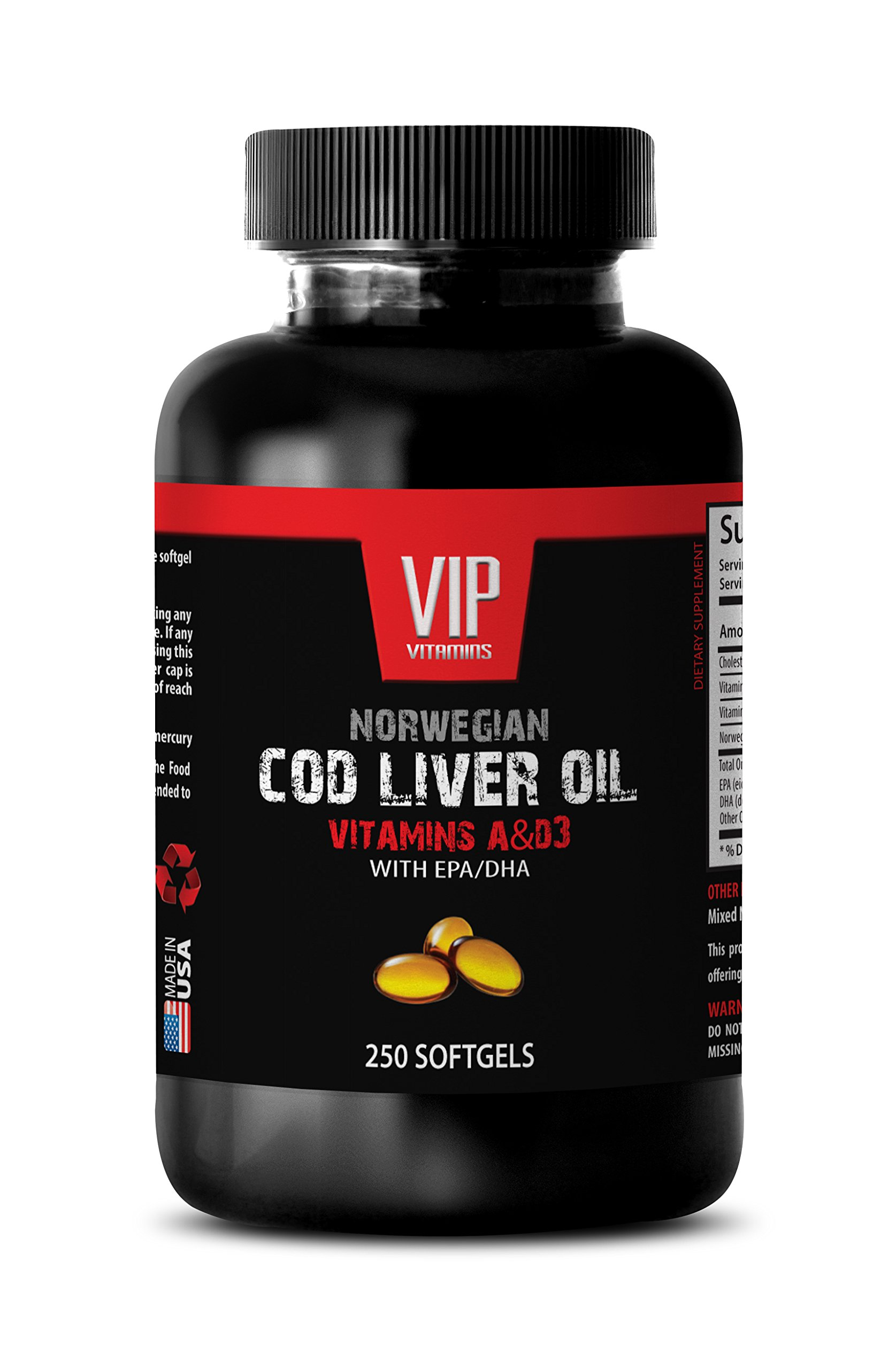 NORWEGIAN COD LIVER OIL with Vitamins A & D3/EPA & DHA - Digestive aid - 1 Bottle 250 Softgels