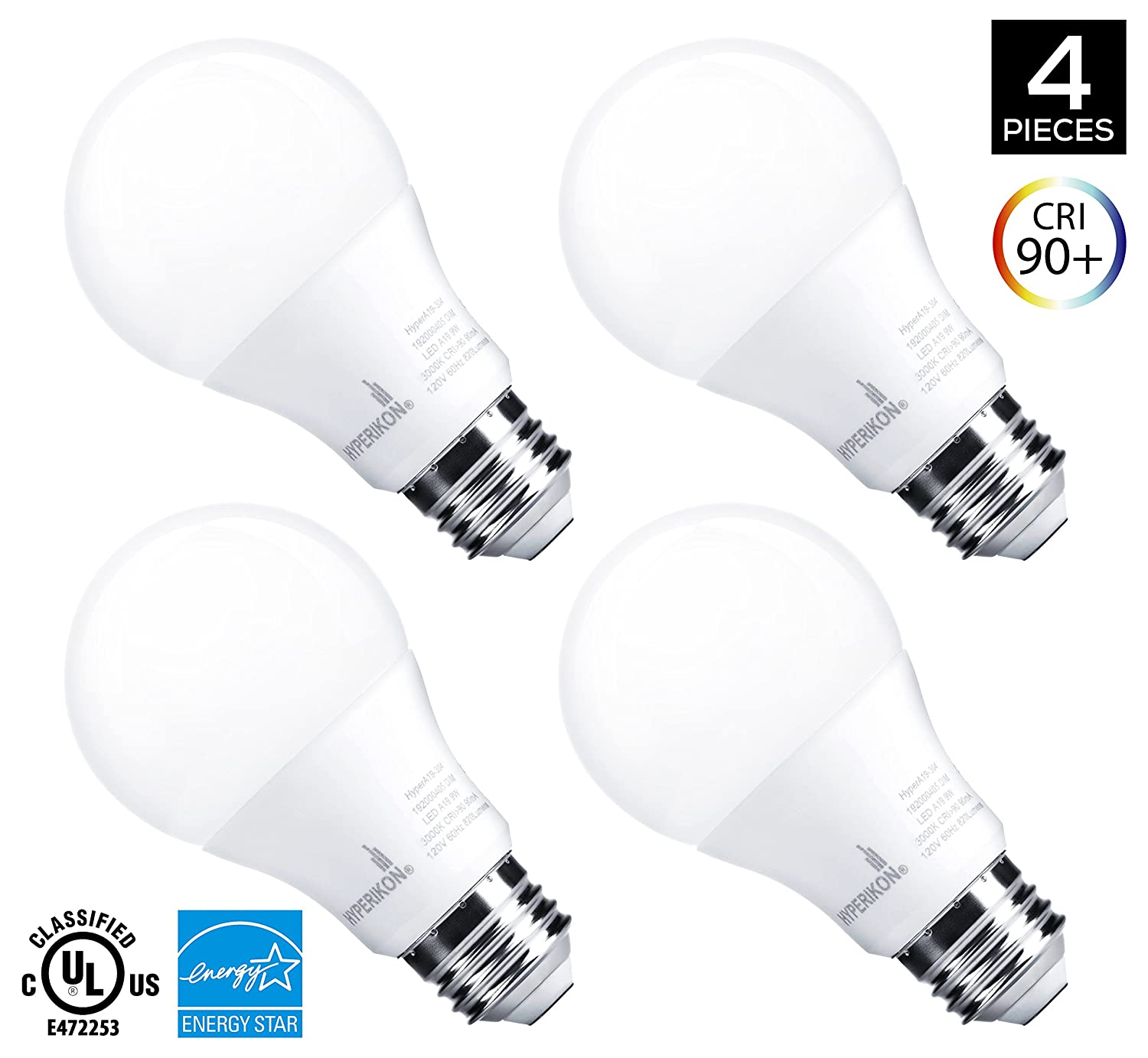 Hyperikon A19 Dimmable LED Light Bulb, 9W (60W Equivalent), ENERGY ...