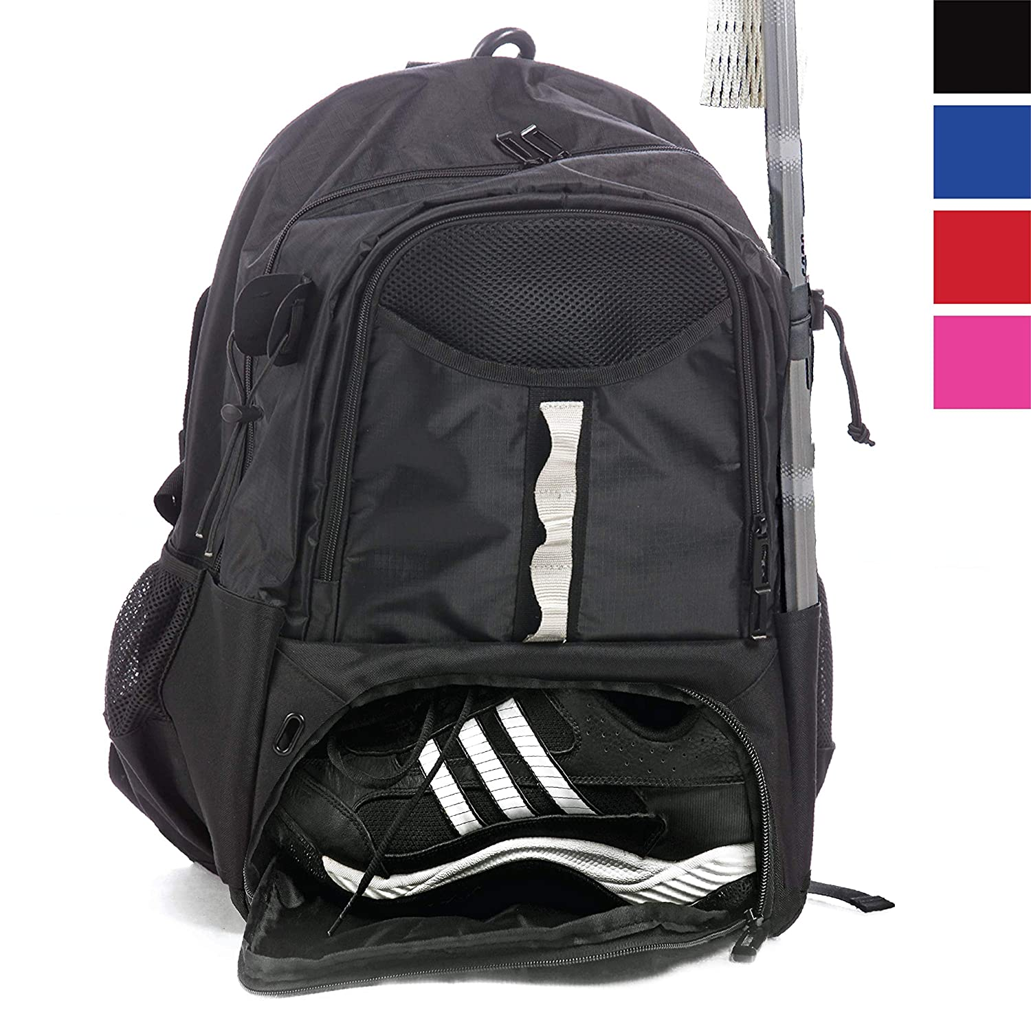 Athletico Youth Lacrosse Bag - Extra Large Lacrosse Backpack - Holds All Lacrosse or Field Hockey Equipment - Two Stick Holders and Separate Cleats Compartment