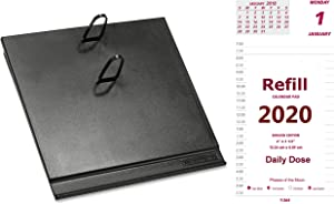 2020 Daily Calendar Set, Includes Daily Refill and Base (Black Plastic Calendar Holder with Metal Clips), Daily Does Replacement for E717-50 and E17-00