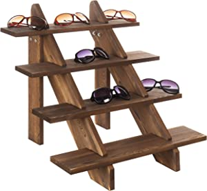 MyGift 4-Tier Rustic Weathered Brown Wood Retail Display Riser Stand