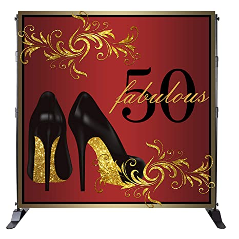 Mehofoto 50th Birthday Backdrop Black High Heeled Shoes Background And Gold 50 Years Old