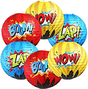 Blulu 6 Pieces Hero Hanging Paper Lanterns Hero Birthday Party Decorations for Kids Hero Theme Birthday Party Decorations