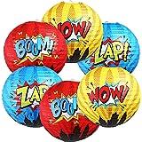 Blulu 6 Pieces Hero Hanging Paper Lanterns Hero Birthday Party Decorations for Kids Hero Theme Birthday Party Decorations