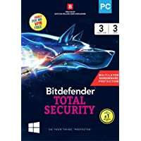 BitDefender Total Security Latest Version (Windows) - 3 User, 3 Years (Activation Key Card)