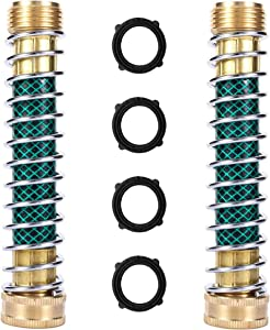 BamLue 2-Pack Garden Hose Protector, Coil Spring Hose Extension Adapter, Solid Brass Faucet Hoses Connector