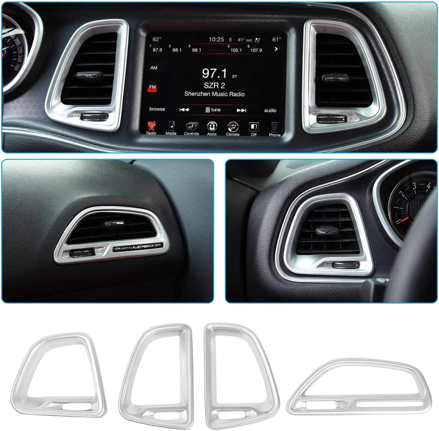 Silver, 4ps Voodonala for Challenger Center Console Air Condition Outlet Vent Trim Accessories for Dodge Challenger 2015 up